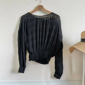 ASTR THE LABEL sheer black cinched blouse size S